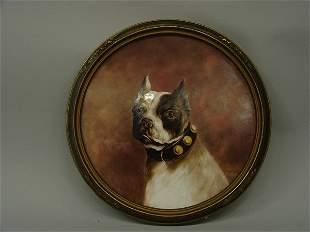 Painted porcelain plaque, Boston Terrier