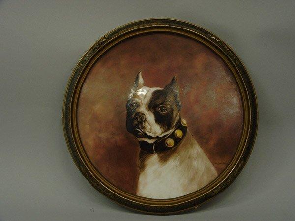 6000: Painted porcelain plaque, Boston Terrier