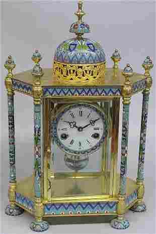 Cloisonne cased mantle clock