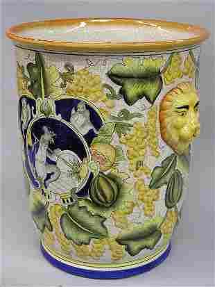 Majolica style urn
