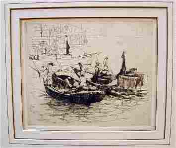 6416: Armin Carl Hansen, etching, Fisher Boats