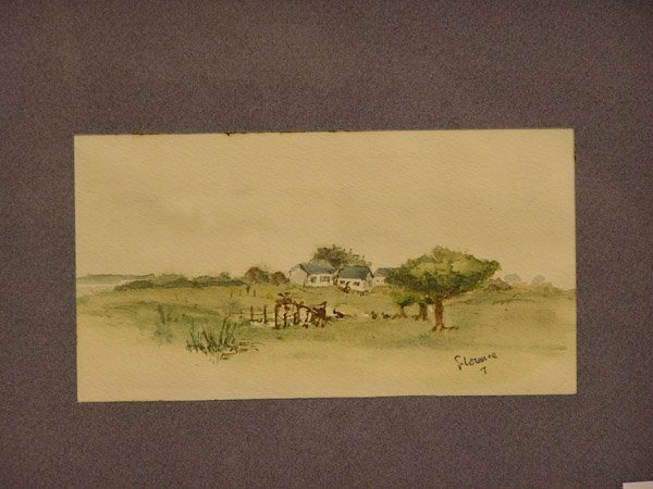 4009: 1950s watercolor signed Florence