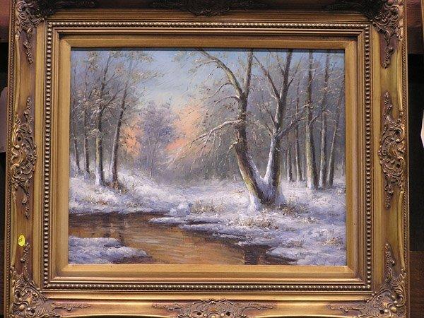 4010: Snow Scene, framed oil on canvas