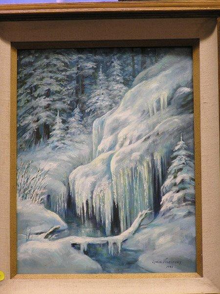 4011: Oil of Frozen River, signed Vercinsky