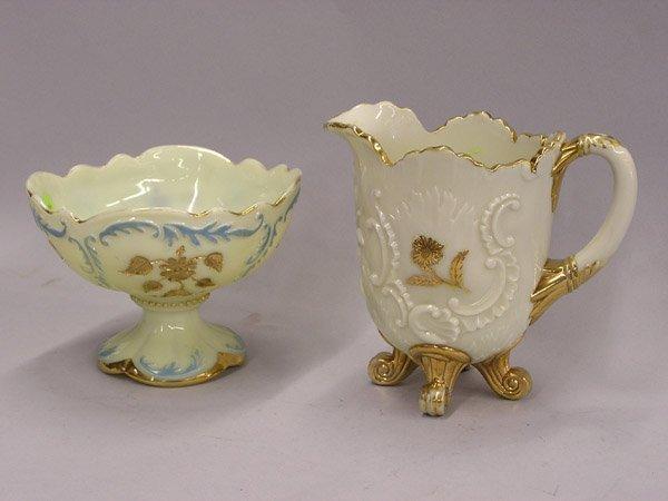 4023: Custard glass compote & pitcher