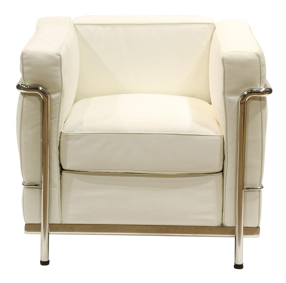 Le Corbusier style LC3 leather club chair, the white
