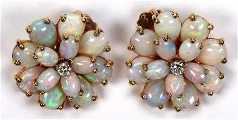 Pair of opal diamond 14k yellow gold flower earrings