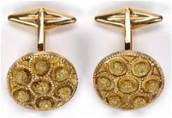 Pair of 14k yellow gold cufflinks