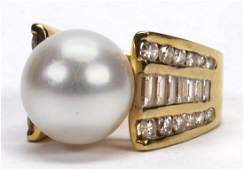 South Sea cultured pearl diamond and 18k yellow gold