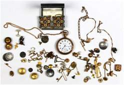 Collection of enamel, metal jewelry and items