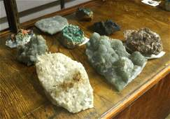 (lot of 9) Polished geode and rock specimen group