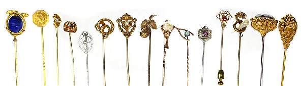 Multi-stone, diamond, gold, platinum hat and stickpins