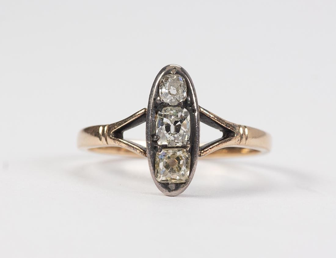 Victorian diamond, silver-topped and 14k yellow gold