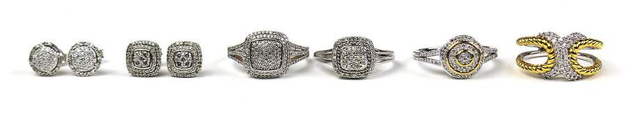 Diamond 14k white gold and sterling silver jewelry