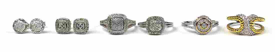Diamond, 14k white gold and sterling silver jewelry