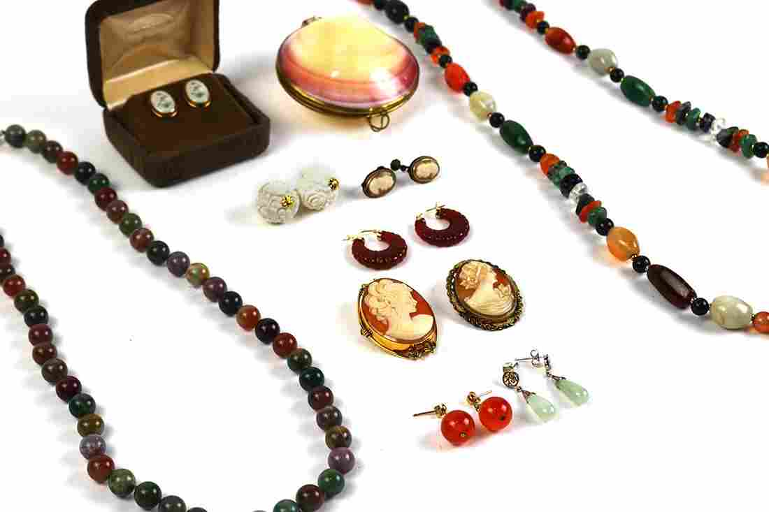 Collection of multi-stone, yellow gold, metal jewelry