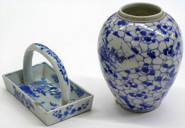 4004: Chinese Porcelain Tray, Seto Style Jar