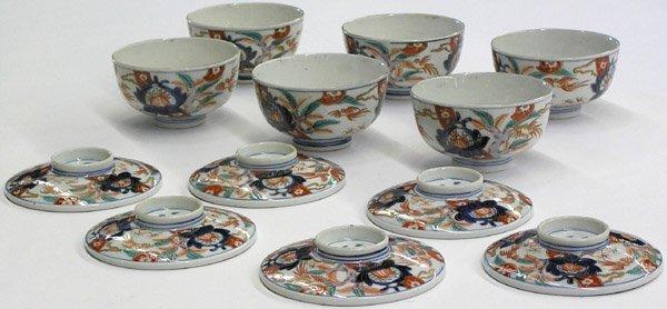 4013: Set Six Imari Lidde Meiji Bowls