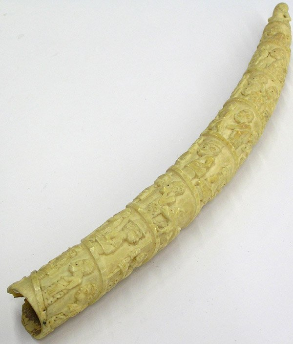 4022: African Elephant Ivory Carved Tusk