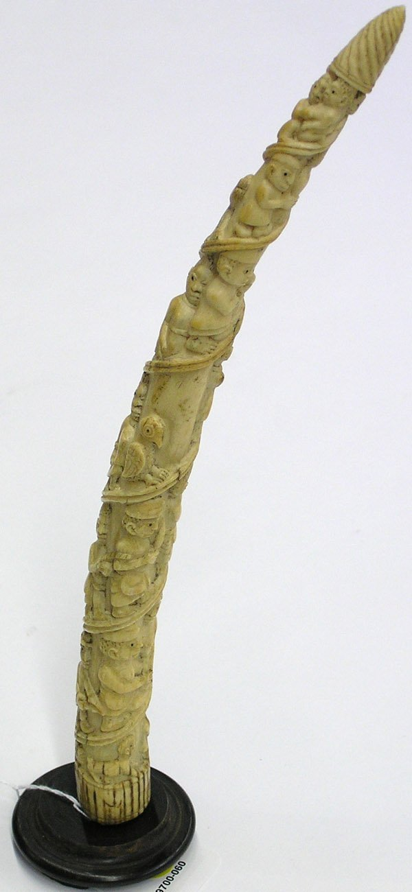 4023: African Elephant Ivory Carved Tusk
