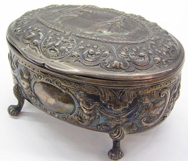 6017: English sterling silver repousse box