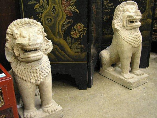 6592: Southeast Asian Carved Lion Guardians