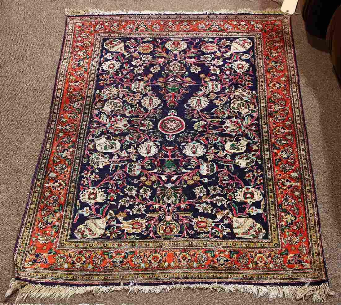 "Semi antique Persian Kashan part silk carpet, 3'5"" x"