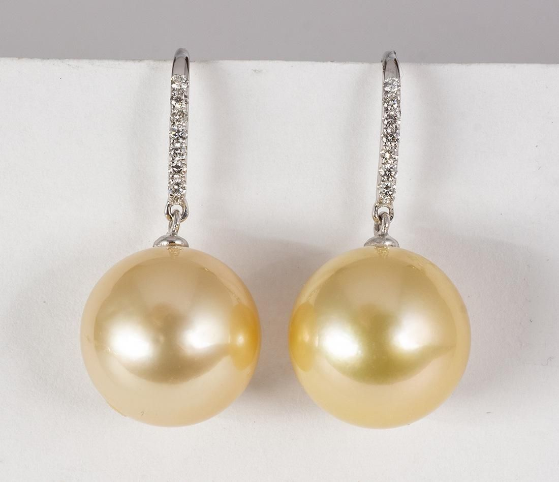South Sea cultured pearl, diamond and 18k white gold