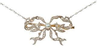 Edwardian diamond, cultured pearl, platinum-topped 18k