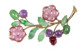 Multistone 14k yellow gold and metal flower brooch