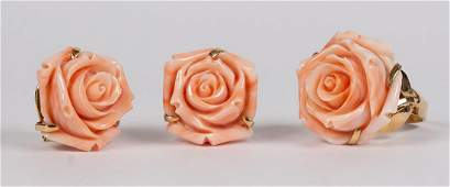 Carved coral flower and 14k yellow gold jewelry suite