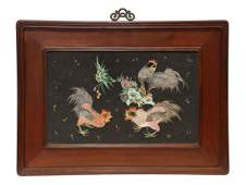 Chinese Porcelain Inset Panel, Chickens
