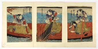 Japanese Woodblock Prints Triptych Toyokuni 19c