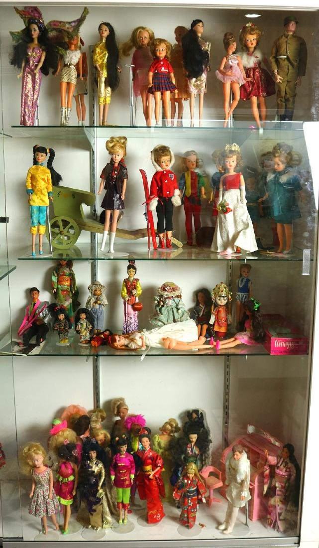 Four shelves of Barbies and additional dolls