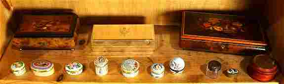 One shelf of pill boxes