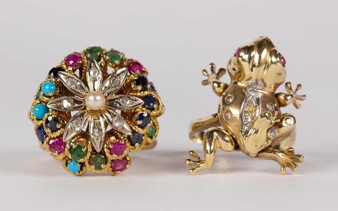 Multi-stone, diamond and yellow gold rings