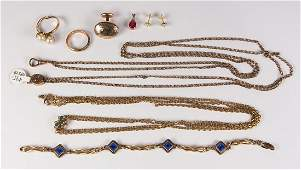 Collection of ruby, cultured pearl, diamond, 14k gold