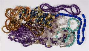 Collection of multi-stone, silver, metal, bead