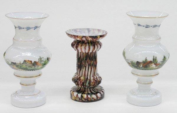 21: Art glass cabinet vases
