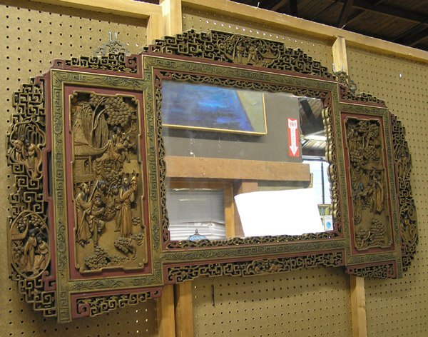 485: Chinese Mirror, Gilt/Red Laquered Wood