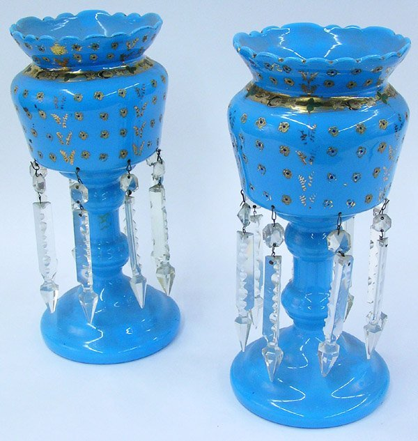 2018: Victorian blue glass lustres