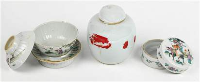 Chinese Porcelain Cup, Jar, and Box