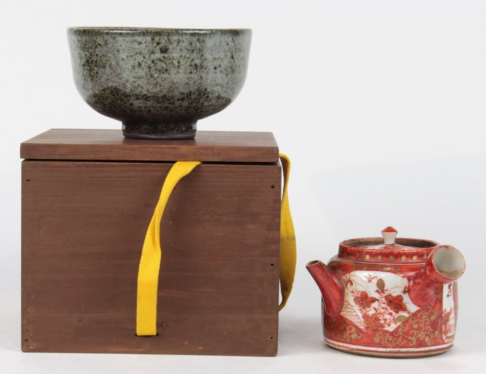 Japanese Tea Bowl and Kyusu Teapot