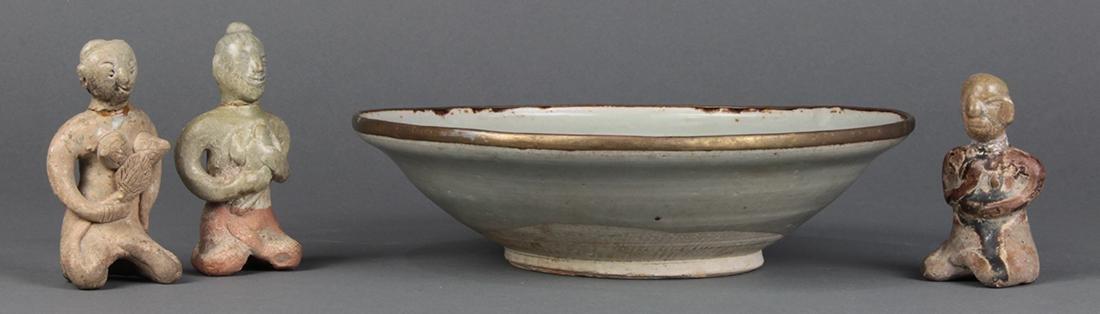 Celadon Bowl and Thai Ceramic Figures
