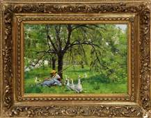 Painting, Landscape with Figure and Geese