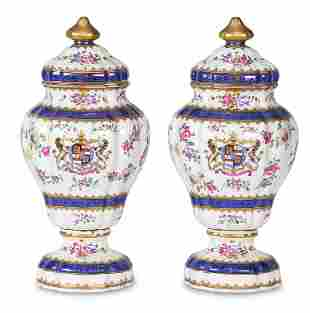Pair of French Samson covered urns
