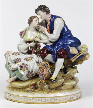 Continental porcelain sculpture depicting a courting