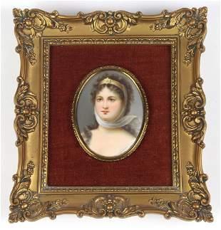 Continental hand painted miniature porcelain plaque