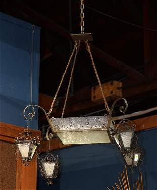 French Country chandelier Filagree Fer Forg metal