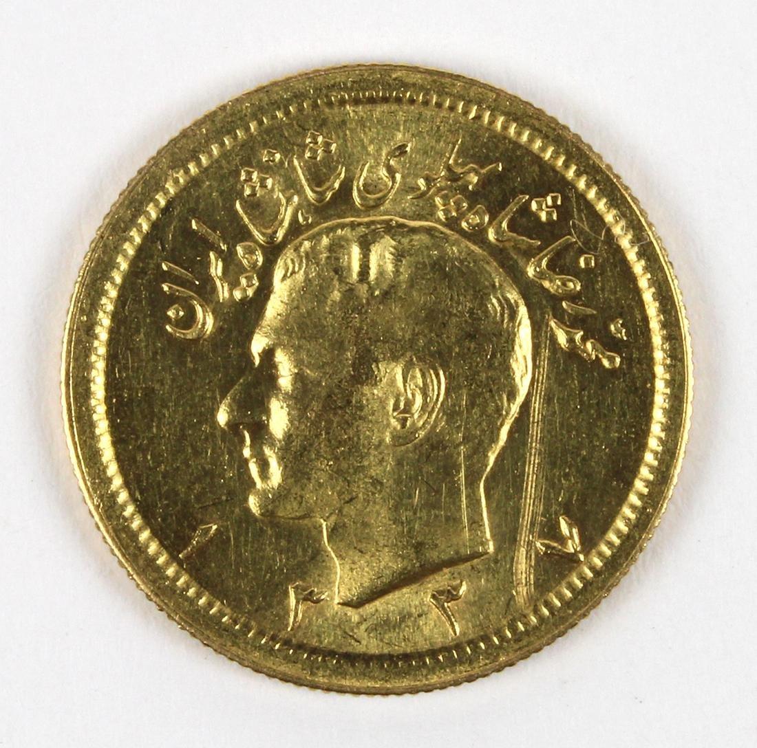 Iranian Pahlavi gold coin, SH 1337 gold KM162